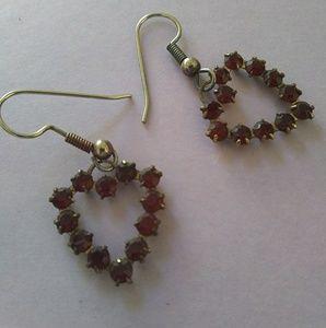 Heart-Shaped Ruby Red Hook Earrings